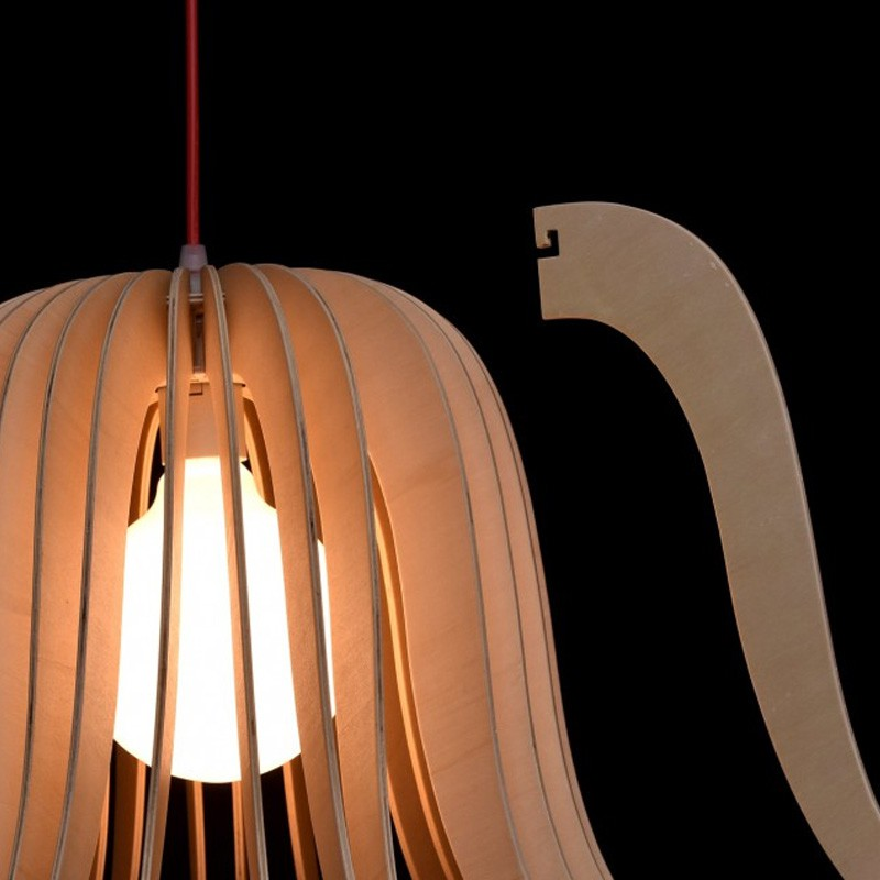 Lampe suspension bois dana beige for Lampe suspension bois