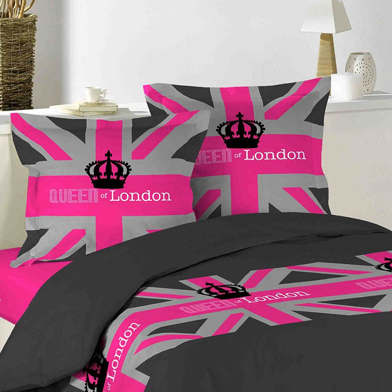 parure de lit 3 pi ces london girl 220x240cm. Black Bedroom Furniture Sets. Home Design Ideas