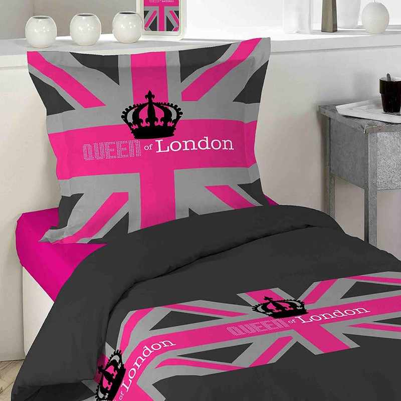 parure de lit 2 pi ces london girl 140x200cm. Black Bedroom Furniture Sets. Home Design Ideas