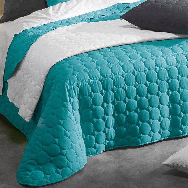 couvre lit matelass candy 220x240cm turquoise. Black Bedroom Furniture Sets. Home Design Ideas