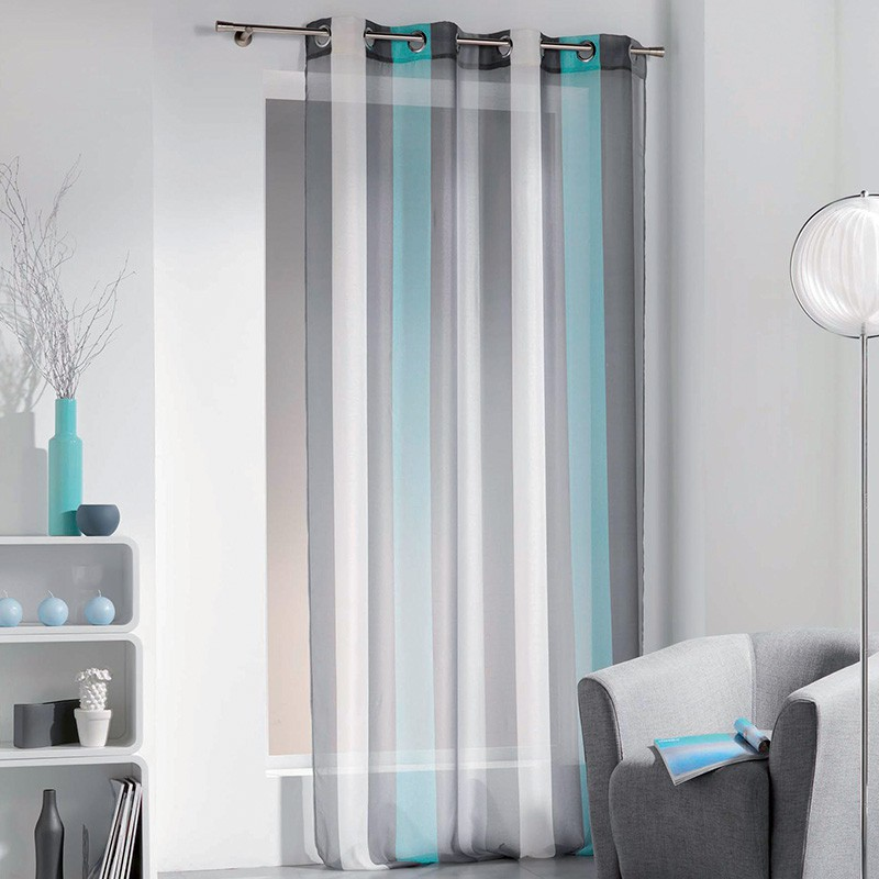 Rideau voilage riviera 140x240cm turquoise for Rideau turquoise
