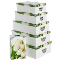 "Set de 6 Boîtes de Rangement ""Thème Tulipe"" Blanc & Vert"