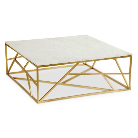 "Table Basse Design en Marbre ""Puzzle"" 99cm Or"