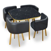 "Ensemble Table & Chaises ""Oslo"" 90cm Noir"
