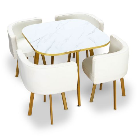 "Ensemble Table & Chaises ""Oslo"" 90cm Blanc"