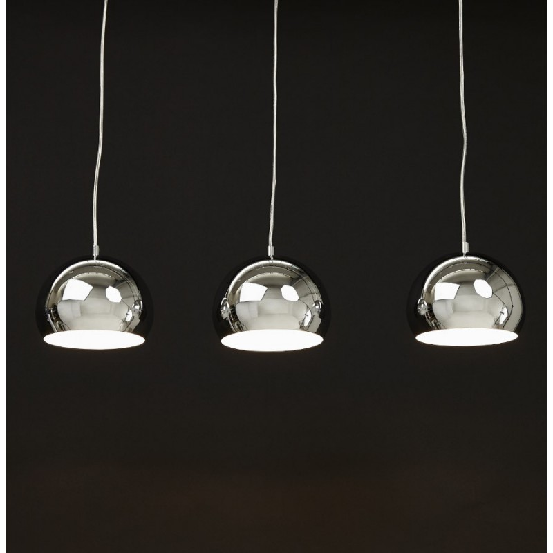 Lampe Suspension 3 Boules Kor Chrome