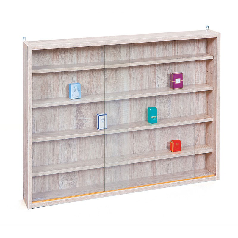 Vitrine murale pour miniatures collection ch ne for Meuble miniature en bois