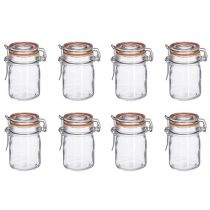 "Lot de 8 Pots en Verre ""Hermétique"" 15cL Transparent"
