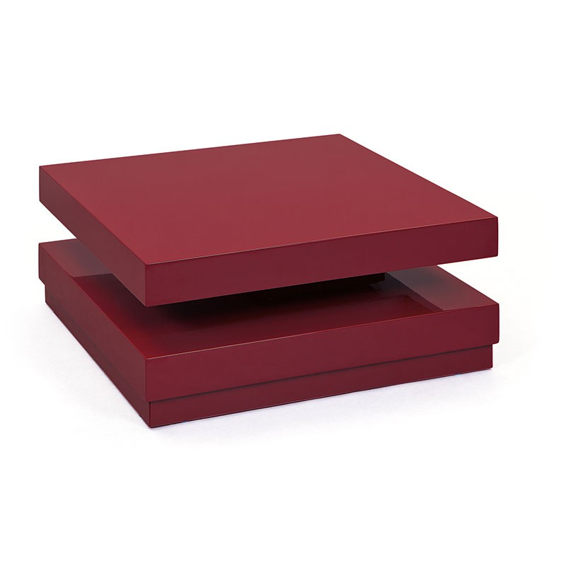 Table basse carree rouge - Table basse rouge laque ...