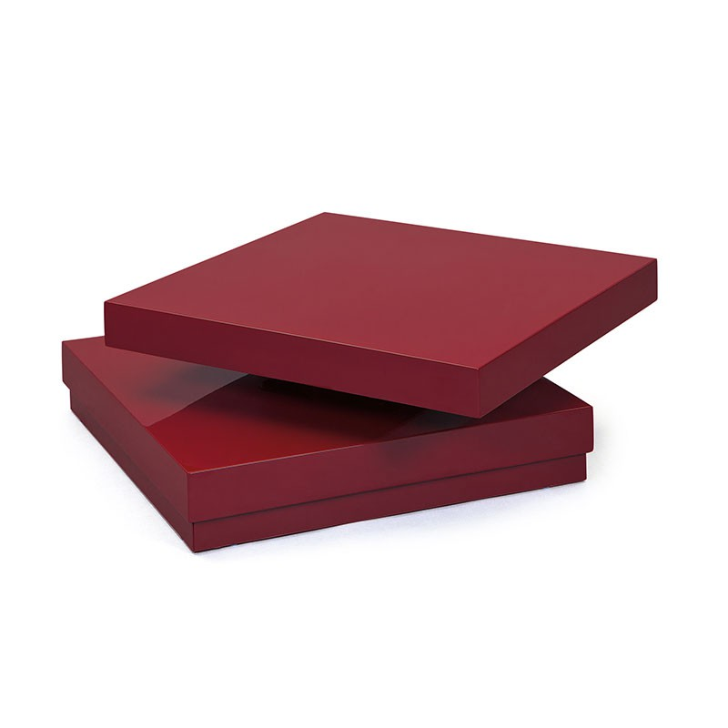 Table basse carr e pivotante serena rouge for Table basse rouge