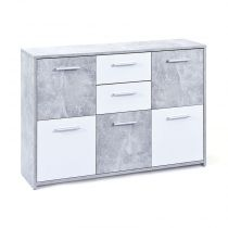 "Commode Design 5 portes ""Miller"" Gris & Blanc"