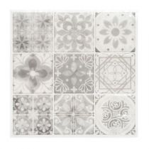 "Lot de 2 Stickers Carrelage ""Yto"" 25x25cm Gris"