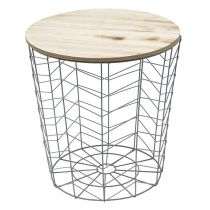 "Table d'Appoint Ronde Design ""Chevron"" 40cm Gris"