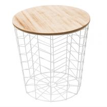"Table d'Appoint Ronde Design ""Chevron"" 40cm Blanc"