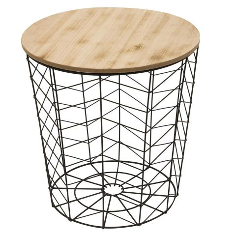 "Table d'Appoint Ronde Design ""Chevron"" 40cm Noir"