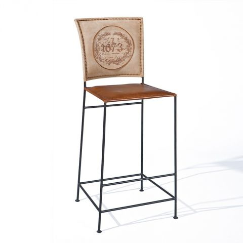 "Tabouret de Bar Métal ""Texas"" Marron"