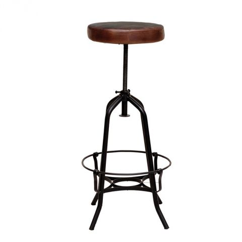 "Tabouret de Bar en Métal & Cuir ""Bill"" 95cm Marron"