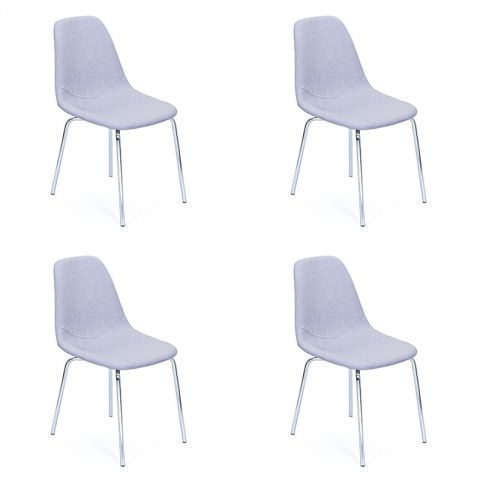 "Lot de 4 Chaises Design ""Pulp"" Bleu"