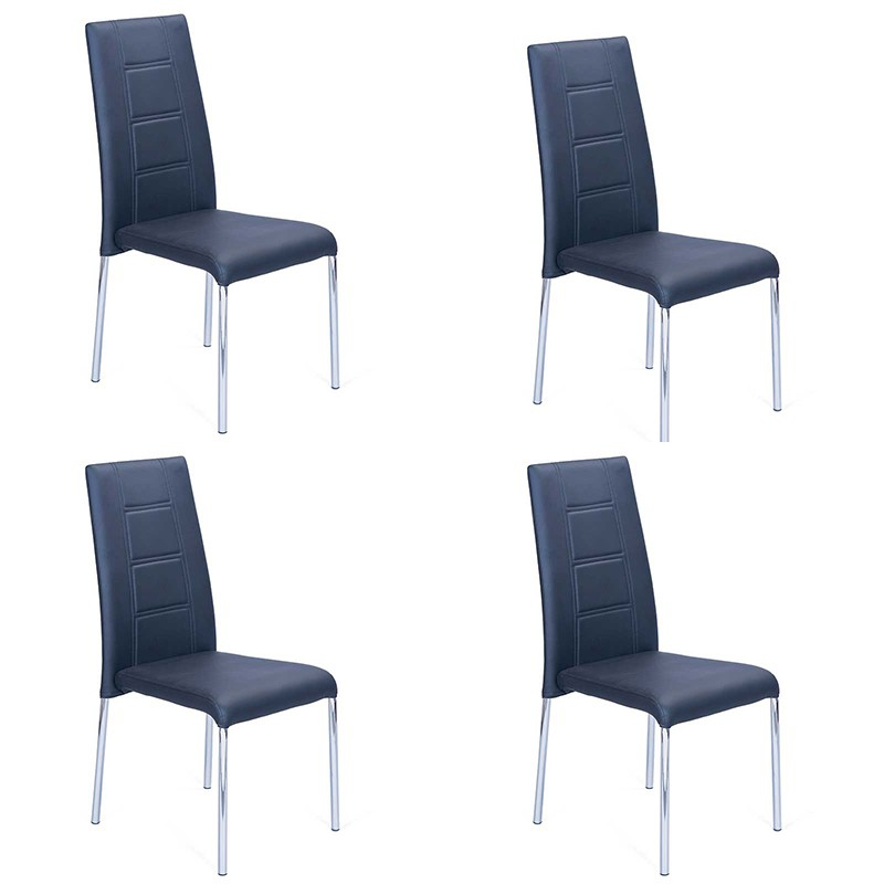 Lot de 4 chaises design mona noir for Chaise noir design