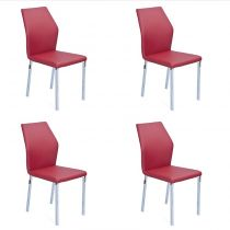 "Lot de 4 Chaises Design ""Budd"" Bordeaux"