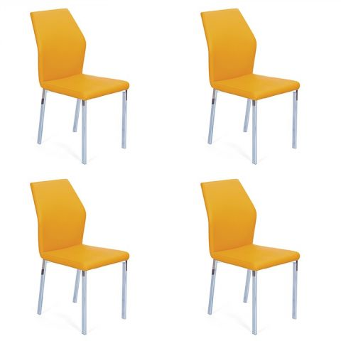"Lot de 4 Chaises Design ""Budd"" Jaune"