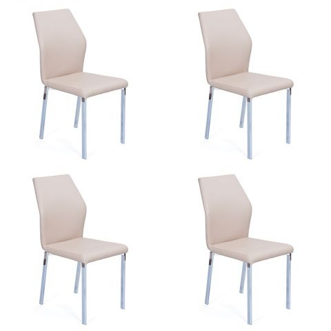 "Lot de 4 Chaises Design ""Budd"" Beige"
