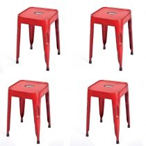 "Lot de 4 Tabourets Métal ""Rusty"" Rouge"