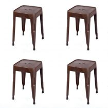 "Lot de 4 Tabourets Métal ""Rusty"" Marron"