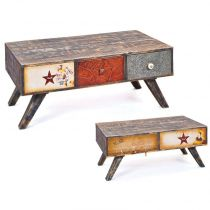 Meuble de rangement enfant 5 tiroirs sweety 114cm multicolore - Table basse multicolore ...
