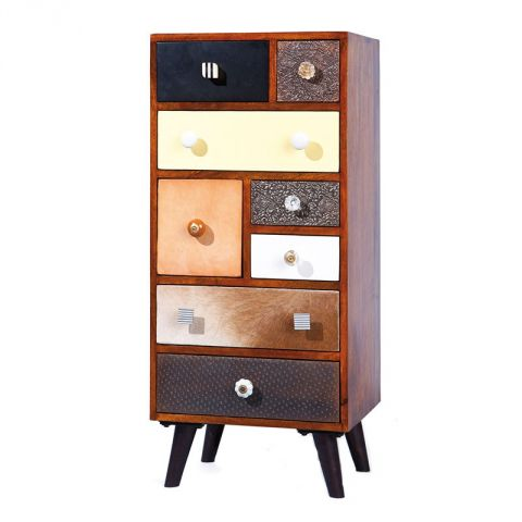 "Commode 8 Tiroirs ""Colorado"" Marron"