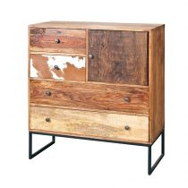 "Commode 4 Tiroirs Bois ""San Antonio"" 100cm Naturel"
