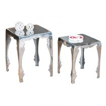 "Lot de 2 Tables d'Appoint ""Ohio"" Argent"