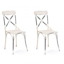 "Lot de 2 Chaises en Métal ""Saint-Paul"" Blanc"