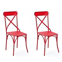 "Lot de 2 Chaises en Métal ""Saint-Paul"" Rouge"