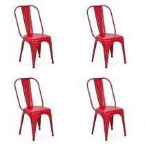 "Lot de 4 Chaises en Métal ""Denver"" Rouge"