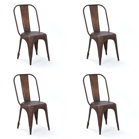 "Lot de 4 Chaises en Métal ""Denver"" Bronze"