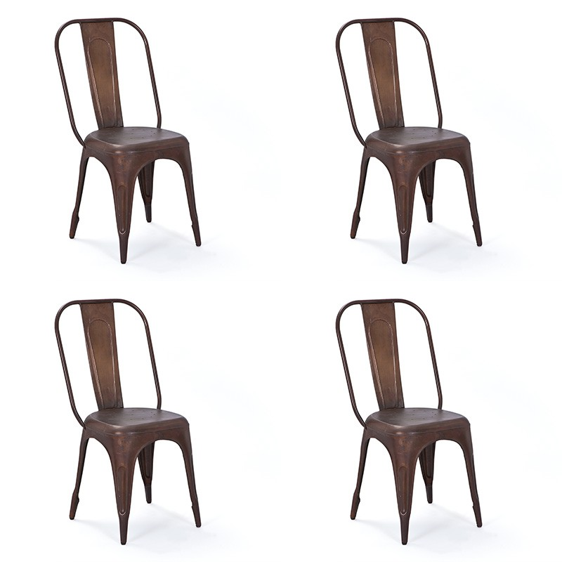 lot de 4 chaises en m tal denver bronze. Black Bedroom Furniture Sets. Home Design Ideas