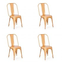 "Lot de 4 Chaises en Métal ""Denver"" Or"