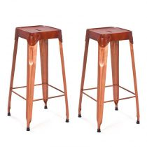 "Lot de 2 Tabouret de Bar ""Rusty"" 75cm Cuivre"