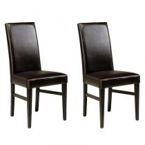 "Lot de 2 Chaises ""Nathan"" Café"