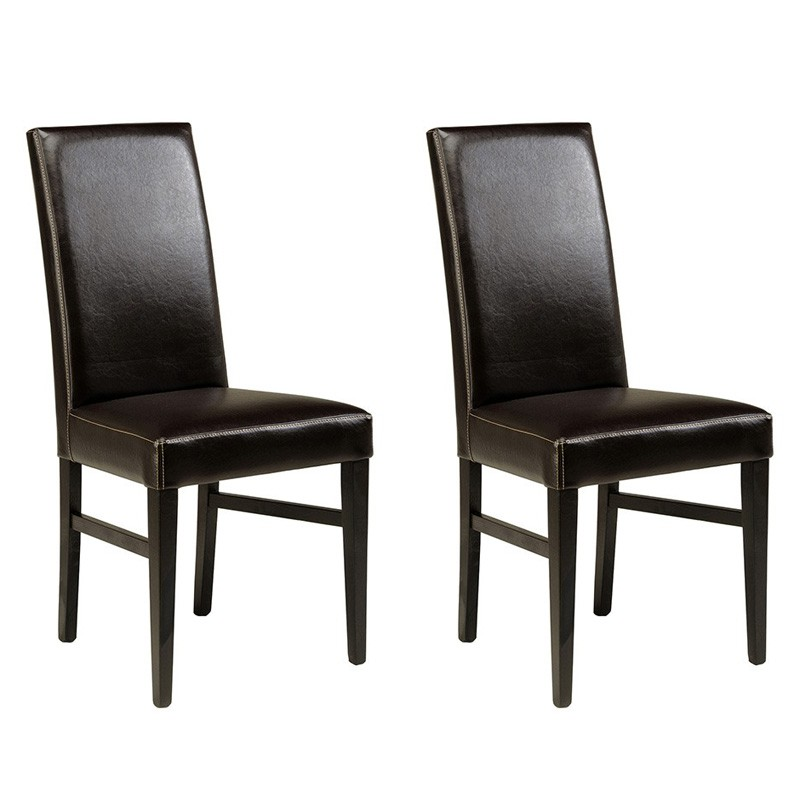 lot de 2 chaises nathan caf. Black Bedroom Furniture Sets. Home Design Ideas