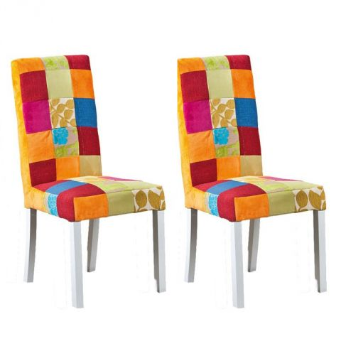"Lot de 2 Chaises Patchwork  ""Aquarelle"" Multicolore"