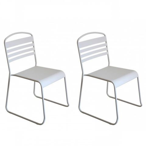 "Lot de 2 Chaises Design ""Nils"" Blanc"