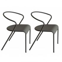 "Lot de 2 Chaises Design ""Akaros"" Gris"