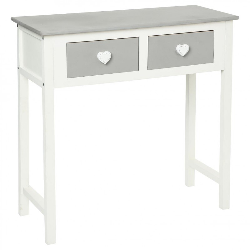 console 2 tiroirs coeur leonce gris. Black Bedroom Furniture Sets. Home Design Ideas