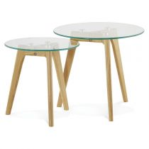 "Set de 2 Tables d'Appoint ""Kastra"" Transparent"