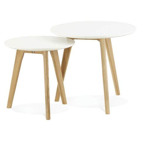 "Set de 2 Tables d'Appoint ""Rauma"" Blanc"