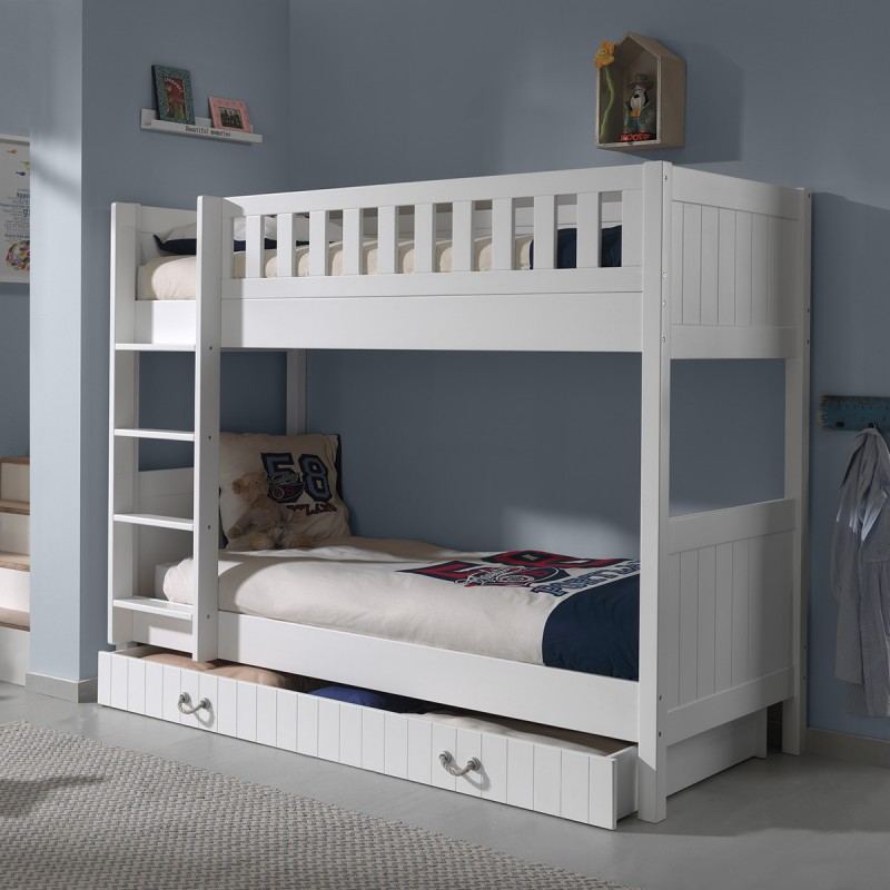 lit superpos enfant lewis 90x200cm blanc. Black Bedroom Furniture Sets. Home Design Ideas