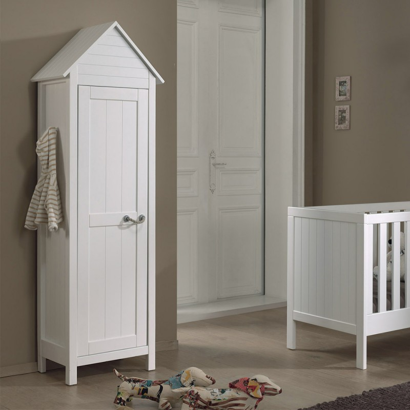 armoire 1 porte lewis blanc. Black Bedroom Furniture Sets. Home Design Ideas