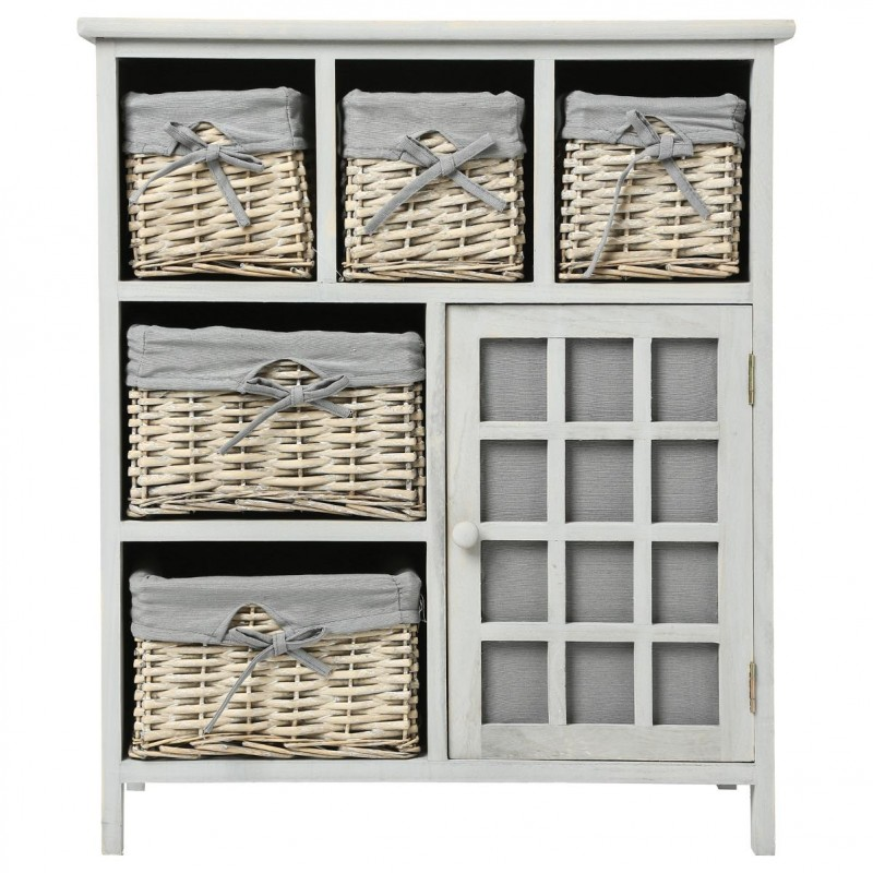 meuble de rangement 5 paniers 73cm aby blanc. Black Bedroom Furniture Sets. Home Design Ideas